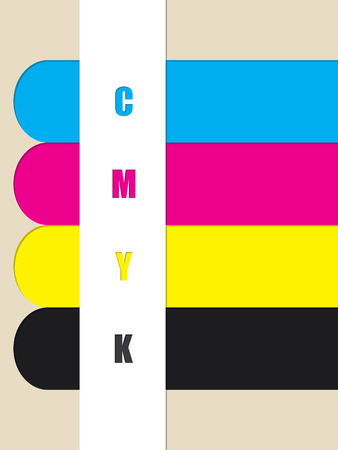 postscript: Abstract cmyk stripes background with color ribbons