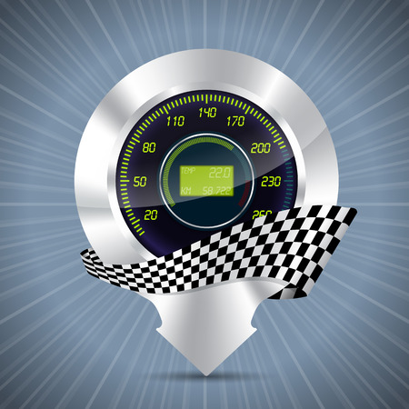 rotations: Cool metallic pointer with speedmeter and race flag