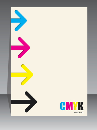 cmyk abstract: Abstract cmyk brochure design with arrow elements Illustration