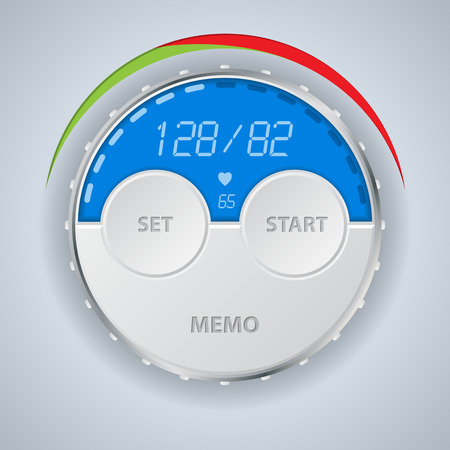 medical exam: Digital blood pressure monitor display with buttons