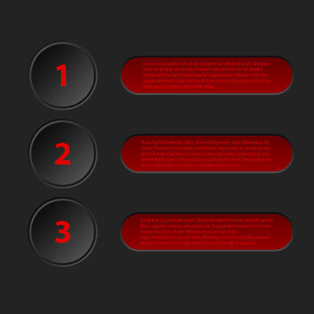 simplistic: Simplistic yet cool 3d infographic design in black red color Illustration