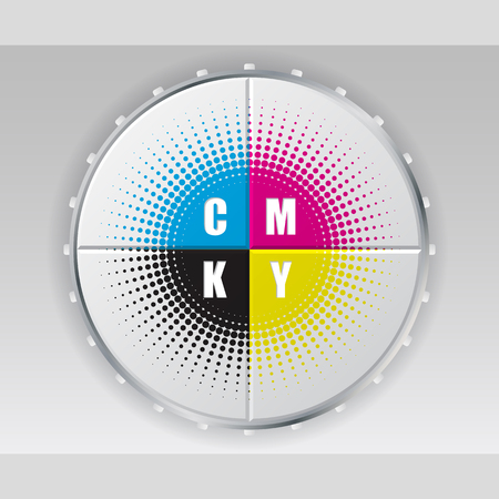 Abstract digital button design with cmyk halftone Illustration