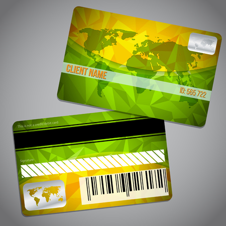 green world: Loyalty card design with world map and green orange background