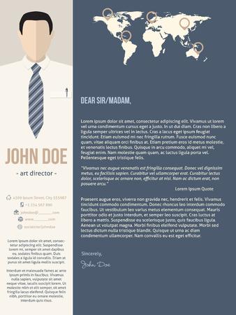 hoja de vida: plantilla del curriculum vitae cv carta de presentación moderna con el hombre de negocios foto Vectores