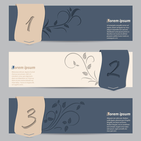 slate: Cool slate blue banner set with numbered ribbons and floral elements Illustration