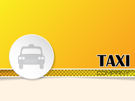 american cities: Taxi text on orange background template design with white taxi badge Illustration