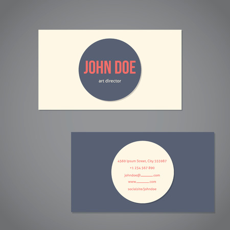 simplistic: Simplistic flat business card template with big gray and light dot