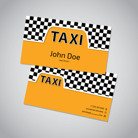 business card template: Taxi business card template design with cab symbol