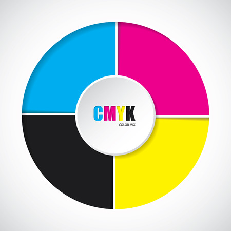 postscript: Abstract cmyk background with 3d button in middle Illustration