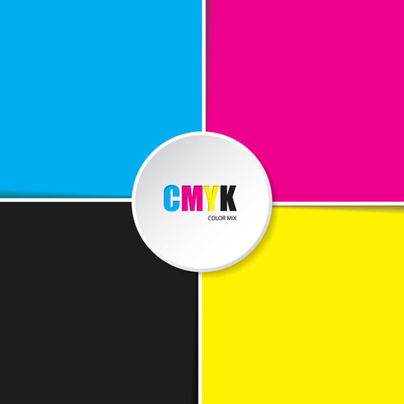 cmyk abstract: Abstract cmyk background with white stripes and 3d button in middle Illustration