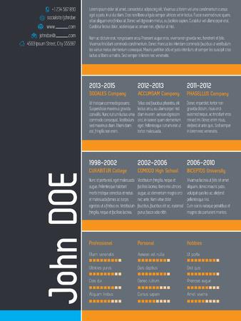 simplistic: Modern curriculum vitae resume cv template with simplistic elements