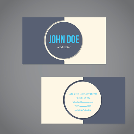 simplistic: Simplistic flat business card template with big gray and light dot and blue text