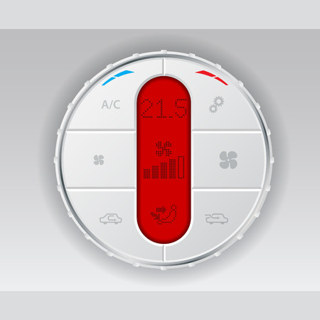 recirculate: Digital air conditioning control panel in white with basic settings