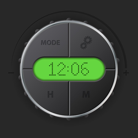 dashboard: Digital clock with green lcd and setting buttons for car dashboard