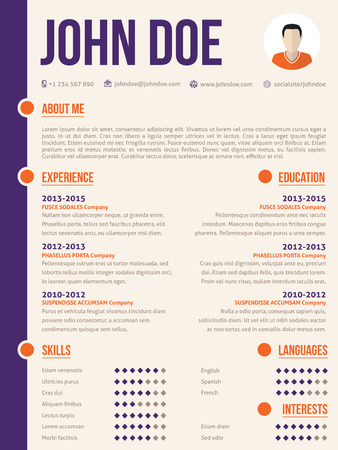 simplistic: Simplistic yet colorful modern resume cv  curriculum vitae template design