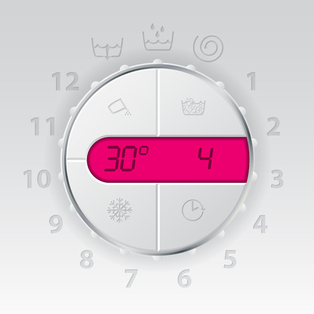lcd panel: Wash machine control panel with pink lcd showing temperature and program Illustration