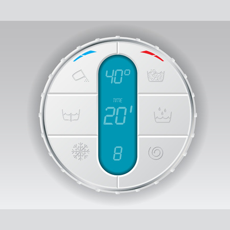 wash machine: Wash machine control panel with turquoise lcd showing temperature program and time Illustration