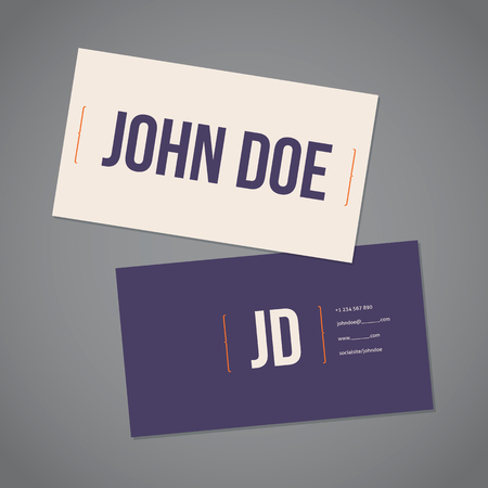 simplistic: Simplistic flat business card template design with curly brackets Illustration