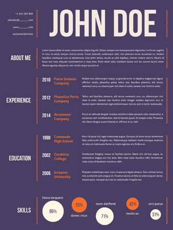 curly: Modern resume cv curriculum vitae template design with curly brackets Illustration