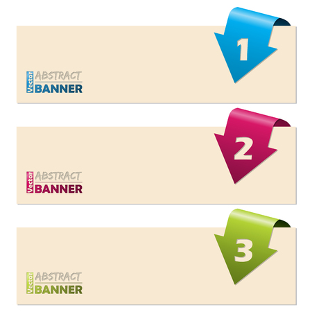 folding: Simplistic banner set with folding arrow numbers Illustration