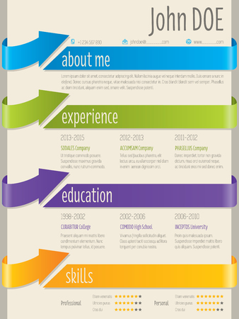 vitae: Color arrow ribbons cv resume curriculum vitae template design Illustration