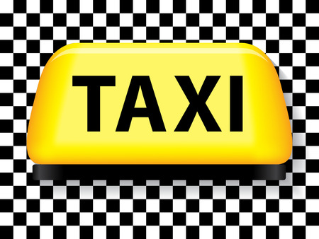 taxi sign: Yellow taxi sign with checkered background