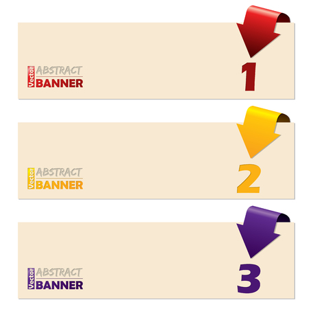 simplistic: Simplistic banner set with folding arrows pointing to numbers