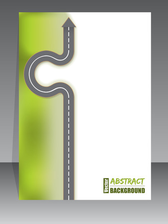 green street: Abstract brochure design with arrow road Illustration