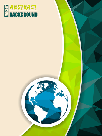 rough diamond: Abstract green brochure with polygons and world map Illustration