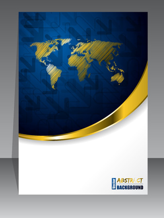 rough diamond: Abstract blue gold brochure with golden world map Illustration