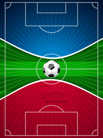 grounds: Abstract blue red soccer brochure template with ball and field