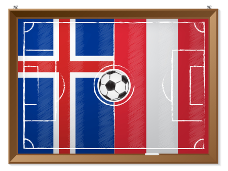 iceland flag: Soccer field drawing with austrian and iceland flag in background Illustration