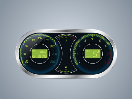 rotations: Shiny metallic speed meter and rev counter design Illustration