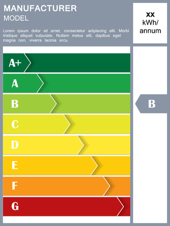 rating: Energy efficiency rating table with sample text Illustration