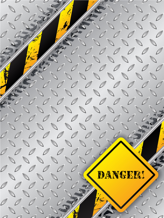 tread plate: Abstract industrial brochure design with tire tracks metallic plate and danger text Illustration