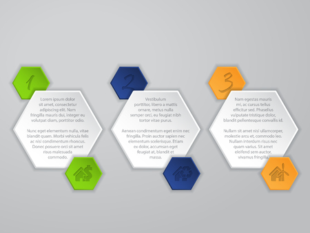Cool hexagon infographic design with icons and description