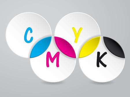 postscript: Cmyk background with 3d circles and CMYK text Illustration
