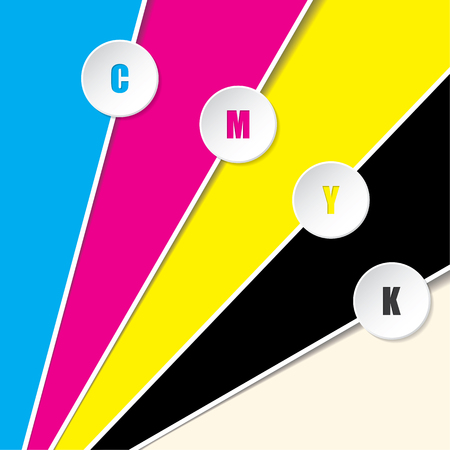 bitmaps: Abstract cmyk background with 3d buttons and CMYK text