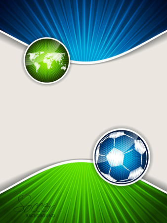 Abstract soccer brochure template with bursting blue scribbled ball and bursting green map
