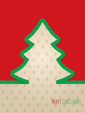 christmastree: Christmas greeting card design with green ribbon tree and christmastree pattern background