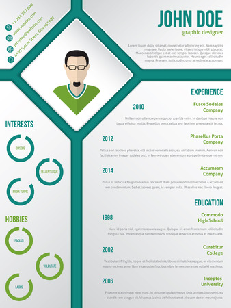rhomb: Modern cv resume curriculum vitae template design with photo in rhomb