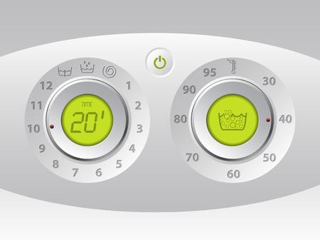 wash machine: Wash machine manual and digital control panel with green lcd