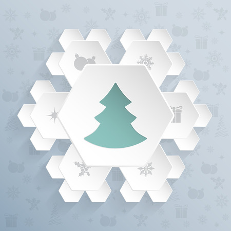 turquoise: Christmas greeting card design with snowflake shaped hexagons Illustration