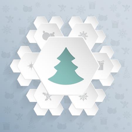 turquesa: diseño de la tarjeta de felicitación de Navidad con hexágonos en forma de copo de nieve