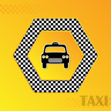 Checkered taxi template design with cab silhouette in center Illustration