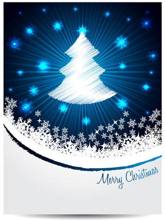 christmastree: Blue white christmas greeting card design with bursting scribbled christmastree