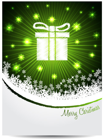 Green white christmas greeting card design with bursting scribbled gift box