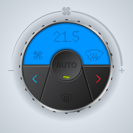 recirculate: Air condition gauge with blue lcd display and three buttons Illustration