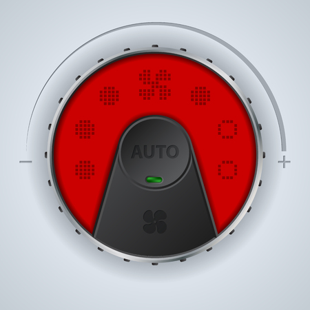 Air condition gauge with red lcd display and two buttons Illustration