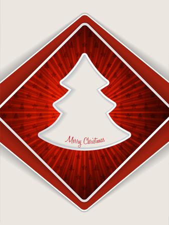 glistening: Red christmas greeting card design with bursting christmas tree
